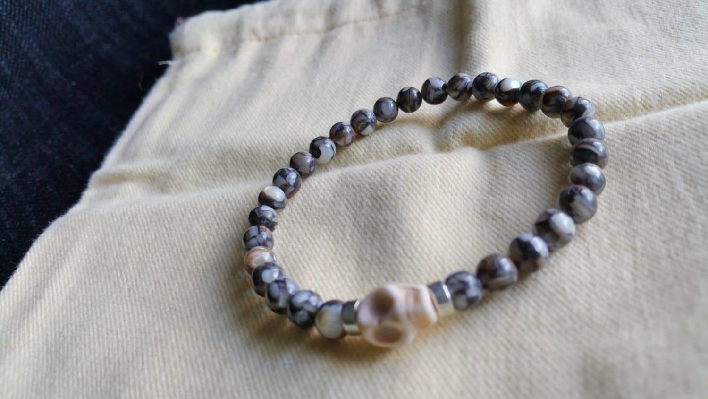 mens skull bracelet beaded bracelet gemstone bracelet