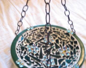 Handmade Mosaic Birdbath, Hanging bird feeder,Stained glass birdbath, stained glass feeder