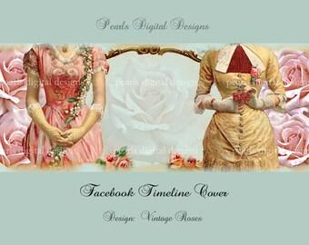 Vintage Roses Facebook Timeline Cover, Instant download, 2 vintage ladies among pink roses,