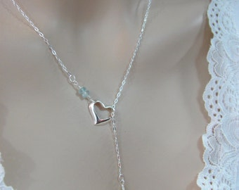 Aquamarine Lariat Necklace in Sterling Silver, Heart Necklace, Aquamarine Gemstone, March Birthstone, Aquamarine Jewelry, Wedding Jewelry