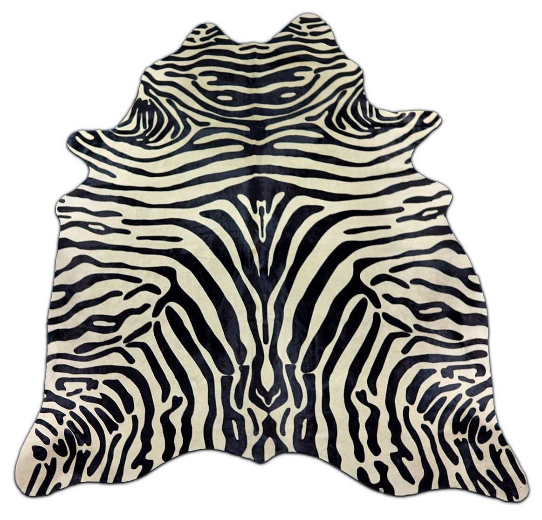 H-506 Gorgeous Zebra Cowhide Rug Zebra Print Cow Skin. Size: