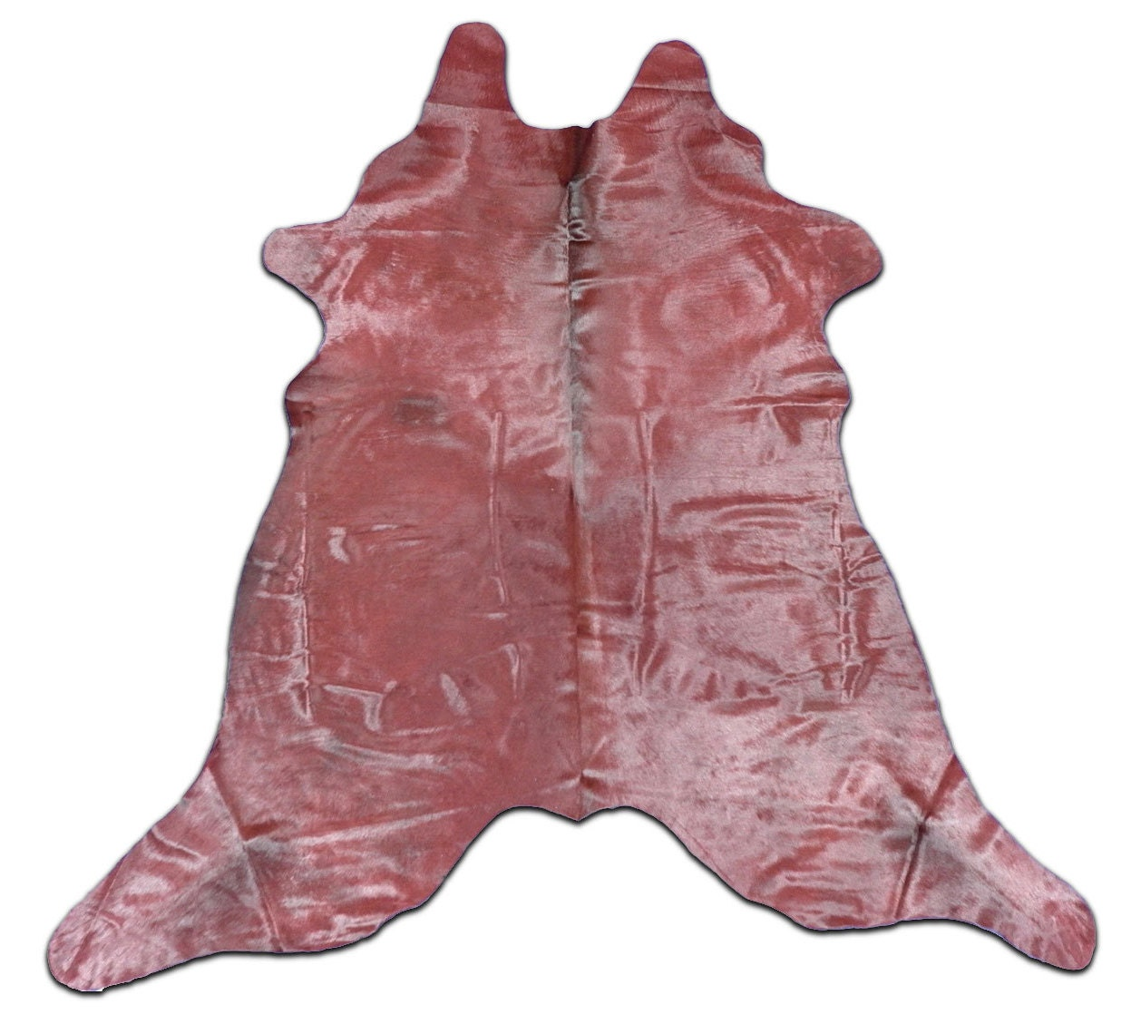 H-548 New Brazilian Dyed Burgundy Red Cowhide Rug. Size: