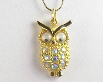 Vintage Small Rhinestone Owl Pendant Necklace Owl with Google Eyes Pendant Necklace 60's Rhinestone Owl Necklace AB Stones Owl Necklace