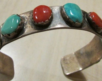Vintage Sterling Silver Coral and Turquoise Native American Cuff Bracelet  - Small Size
