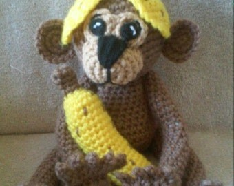 Crochet Monkey With Banana and Hat Amigurumi Pattern Only