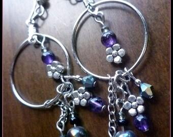 Amethyst Crystal Flowery Earrings