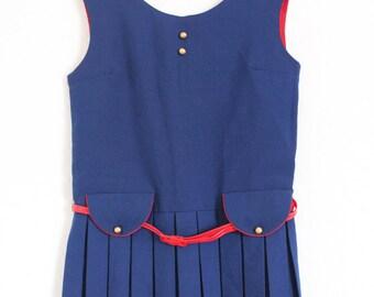 Vintage Kinder Kleid Gr. 116 70er 80er blau rot maritim Matrose Mädchen