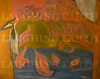 Ivory-billed woodpecker and falling dogwood leaves done in colored chalk