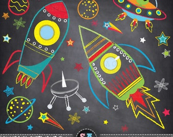 "Chalkboard Outer space clipart:""OUTER SPACE"" Spaceship,Planets,Rockets,Stars,perfect for scrapbooking,invitations,party card Ca037"