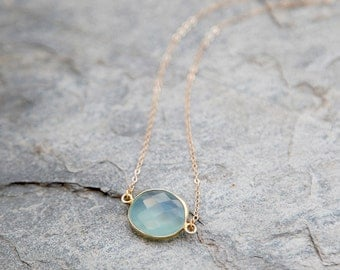 Aqua blue chalcedony and gold filled chain Raindrop necklace