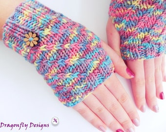 Fingerless Gloves, Hand knitted, Multicolor Gloves, Handwarmers, Texting Gloves, Ladies Handwarmers, Gloves