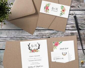 Eco Kraft Pocket Fold Floral Antler Wedding Invitation - Pocket Fold Wedding Invites - Floral Antler Wedding Invitation by Paper Charms