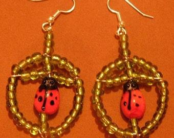 Lampwork Lady Bug In Circles Earrings-Very Pretty