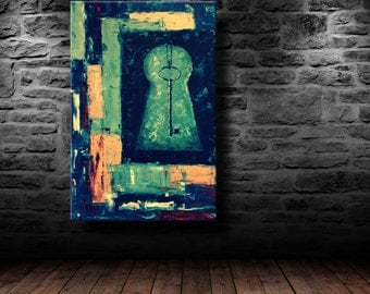 """oil painting, modern art, """"Coveted key"""", canvas art, paintings on canvas, wall art, painting, abstract painting, canvas art, canvas painting"""