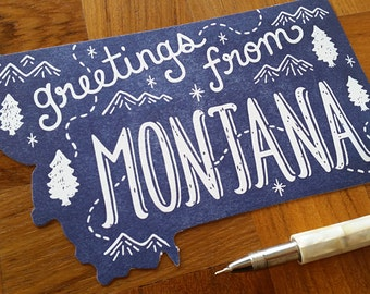 Montana Postcard, Greetings from Montana, Die Cut Letterpress State Postcard