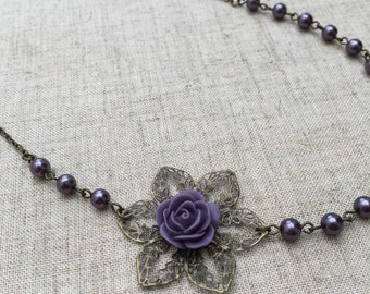 SALE! Purple/lilac pearl necklace with purple flower. Perfect for a bride or bridesmaid.