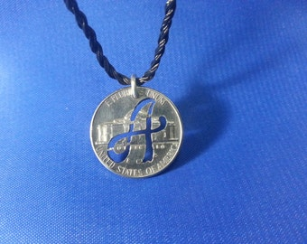 "Cut Coin Pendant by ""The Coins Shop"" Design-Letter of choice,Personalised Coin Jewellery,Handmade,Gift Idea,Alphabet,Necklace,Custom Made"