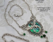Statement Jewelry - Mother of Dragons - Green and Antique Silver Dragon Necklace - Free US Shipping