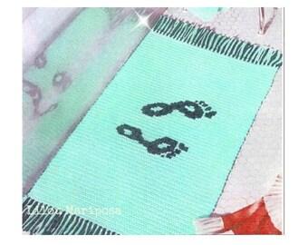 Crochet RUG Pattern Vintage 70s Footprint Fringe Rug Pattern Crochet Bathroom Mat Pattern Boho Home Decor
