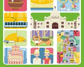 Kolkata Art Poster,  Kolkata Prints, Wall Decor, Bar Decor, Travel Art, Kitchen Art, Retro Poster