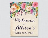 Floral Baby Shower Welcom...