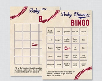 Baseball Baby Shower Bingo Cards - Printable Blank Bingo Cards AND PreFilled Bingo Cards - Vintage Baseball Baby Shower Bingo - 0027