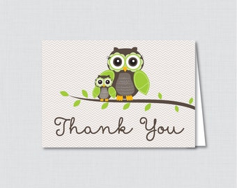 Printable Owl Thank You Card - Printable Instant Download - Green Owl Baby Shower Thank You Card, Brown and Green Owl - 0006-G