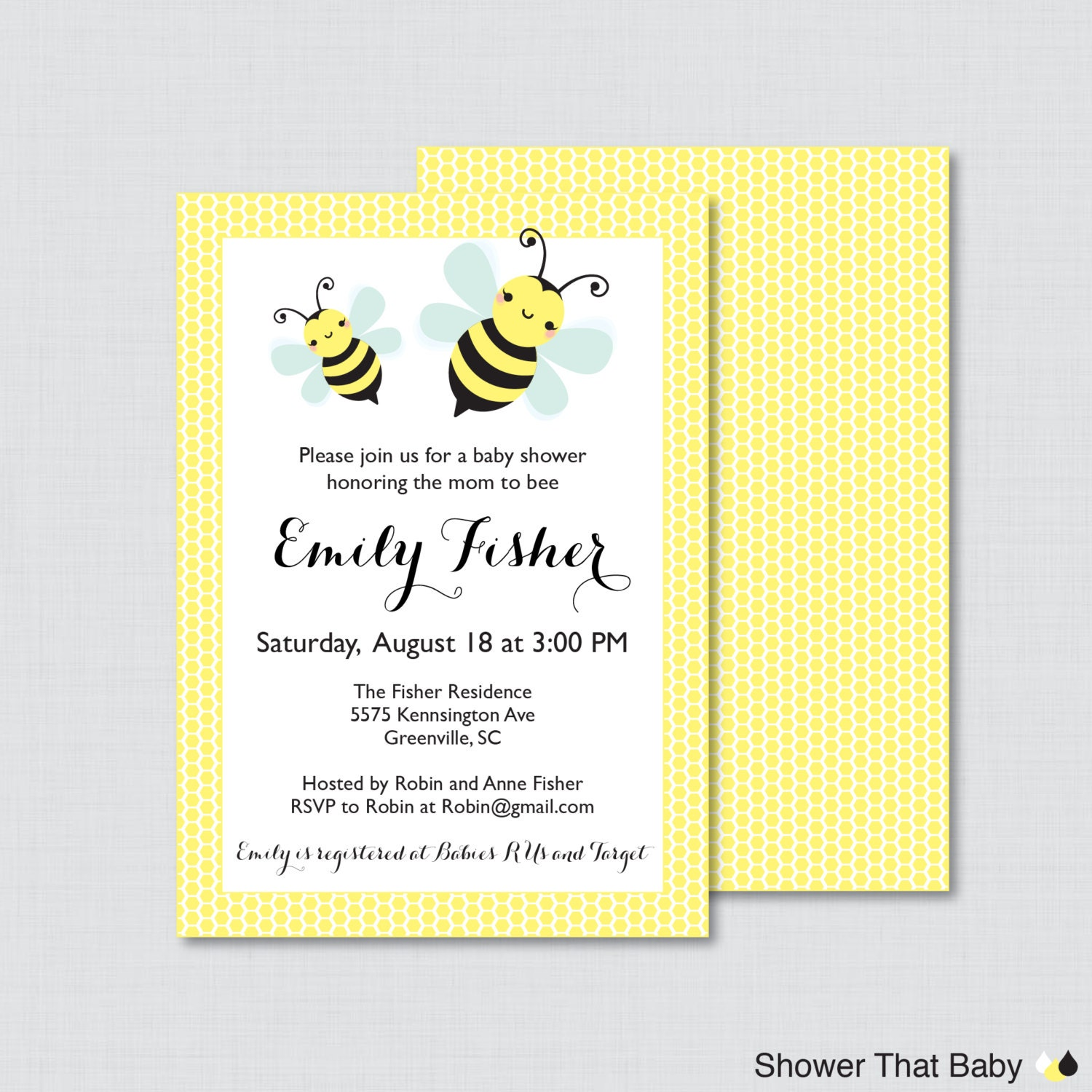 bumble bee baby shower invitation printable or printed