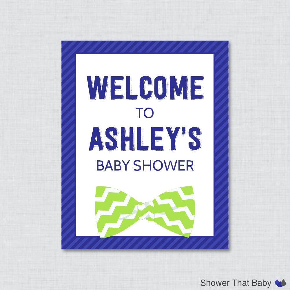 bow tie baby shower welcome sign printable personalized shower