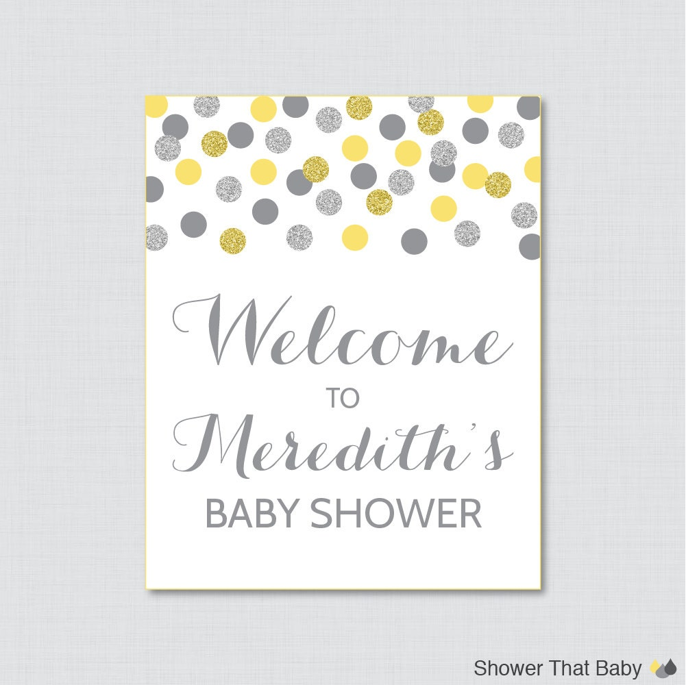 yellow and gray baby shower welcome sign printable