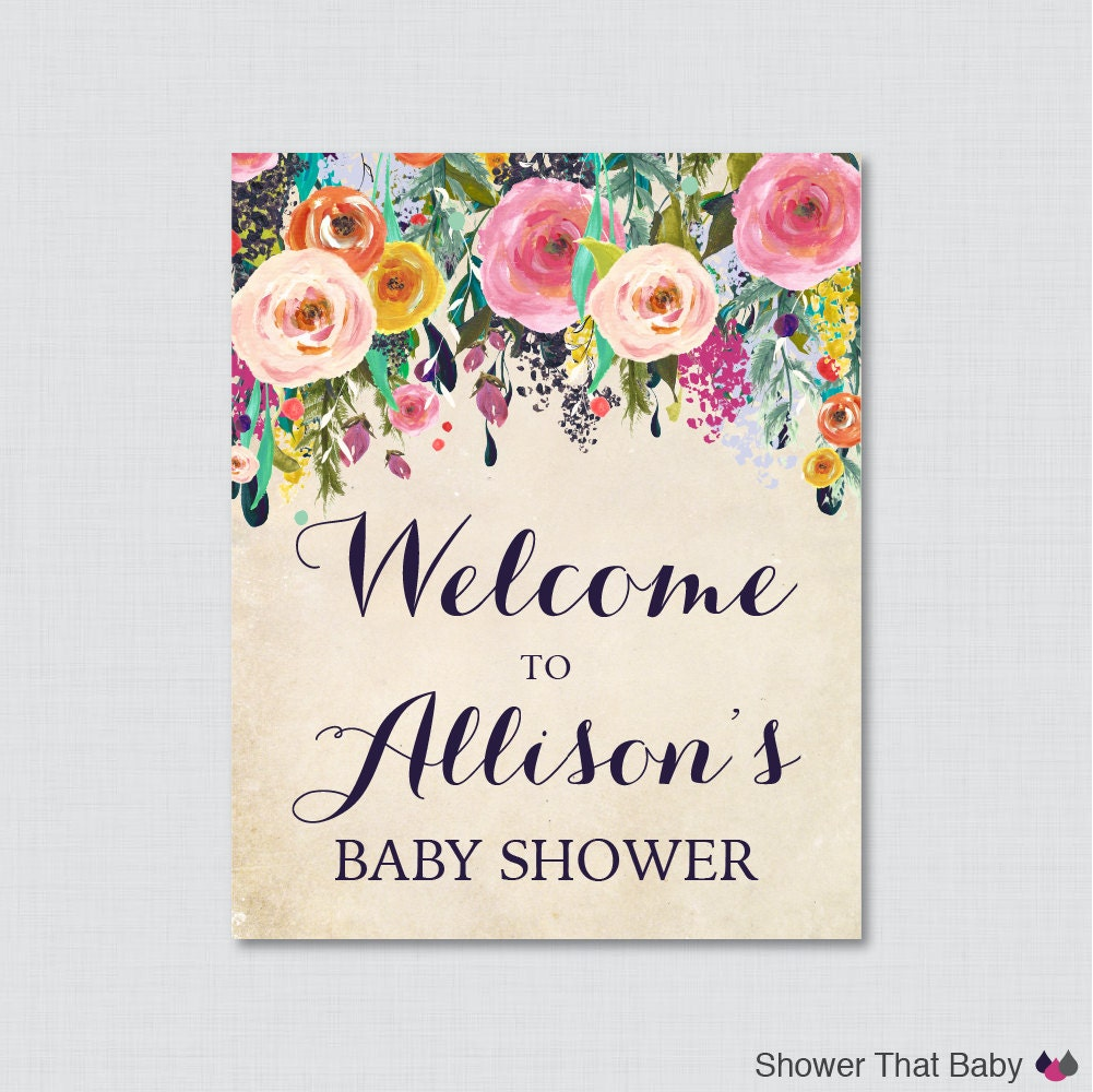 floral baby shower welcome sign printable personalized shower