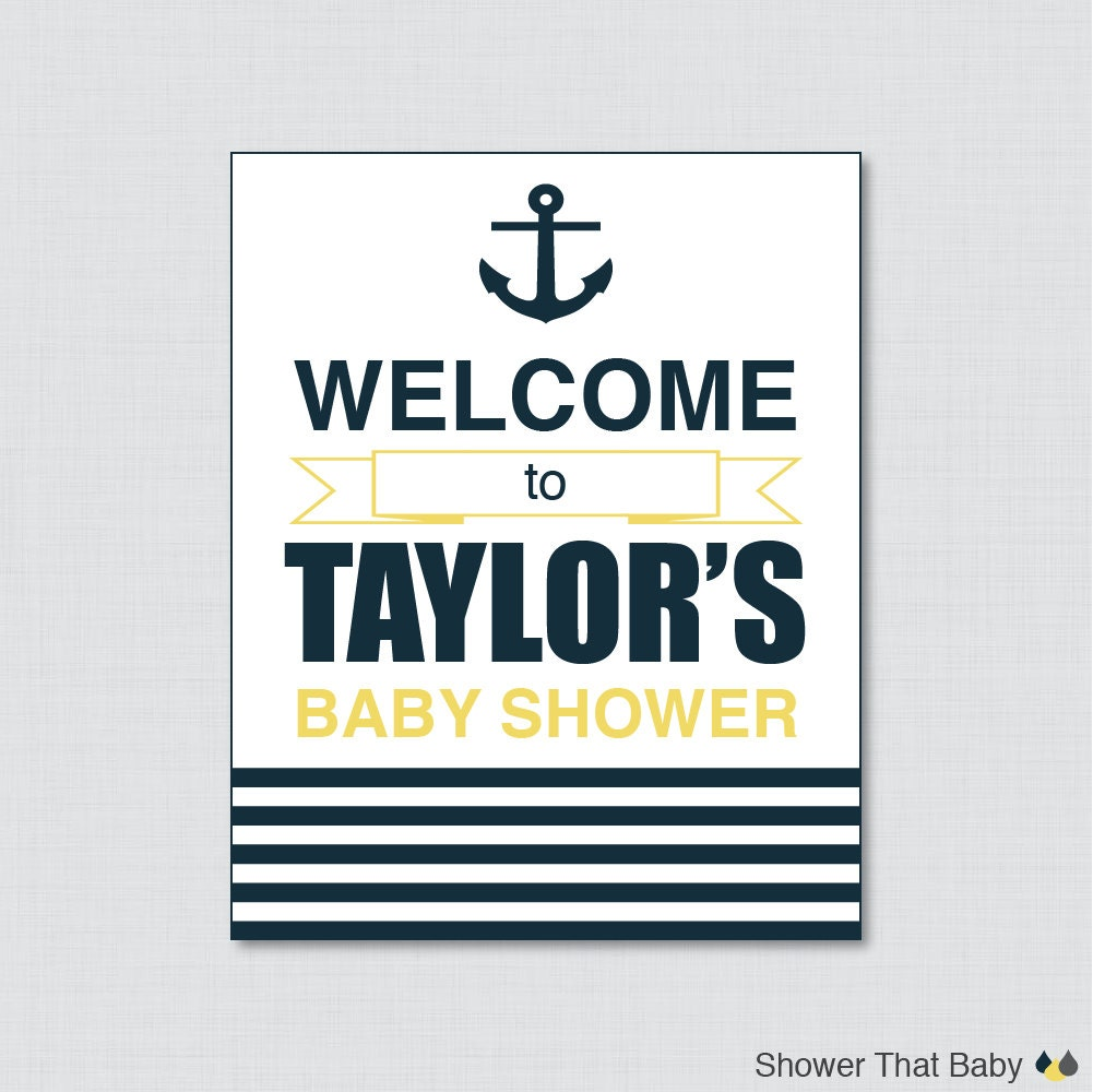 nautical baby shower welcome sign printable personalized
