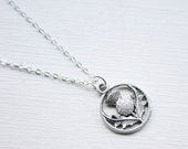 Scottish Thistle Necklace- Tiny Thistle Charm - Scotland Necklace - Double Sided Silver