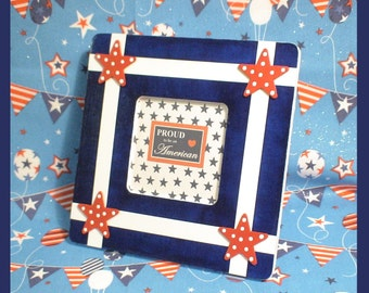 """Red White and Blue Picture Frame - Patriotic Photo Frame - 4th of July Decor - """"Stars and Stripes Forever"""""""