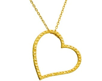 Heart Necklace, GOLD Filled 14K Pendant  hand made jewelry, heart necklace ,minimalist jewelry