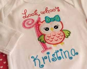 First birthday embroidery design, Owl Embroidery design, Owl Embroidery Applique, Owl 1st Birthday, Cute Girl Owl machine embroidery