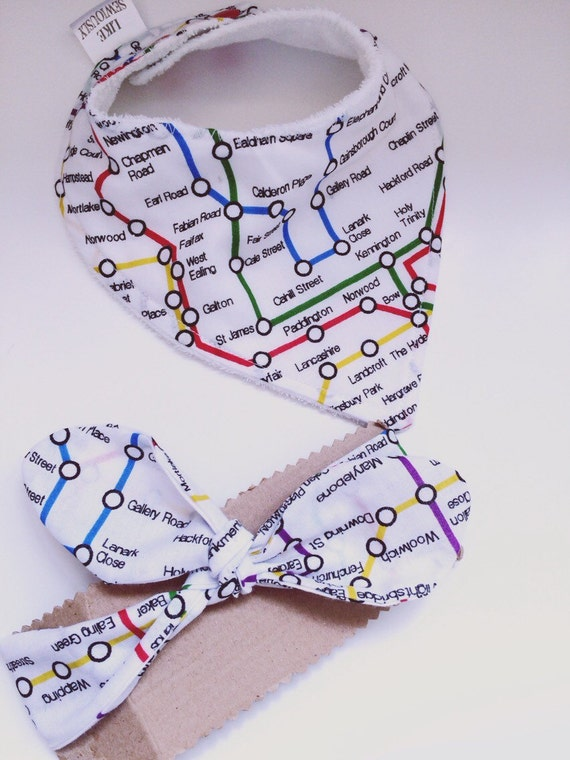 Baby Gift Set London : Baby headband bib gift set london underground by likesewiously
