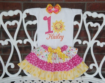 Sunshine Birthday Outfit! Baby Girl First Birthday Outfit! You are My Sunshine First Birthday Outfit/Pink birthday outfit/Sun 1st Birthday