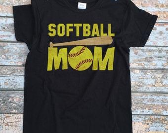 Softball Mom Shirt - Womens Custom Softball Shirt / Softball Mom Tshirt / Customized Sports Outfit / Toddler Mother's Clothes / Black Shirt