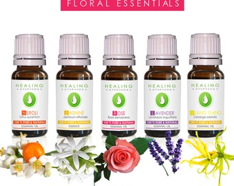 Floral essential oils set- bath and beauty oils-Organic flower oils - Aromatherapy- Ayurvedic- floral oils- flower essence-Therapeutic oils