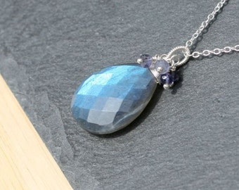 Large Labradorite, Iolite & Sterling Silver Cluster Pendant, Flashy Blue AAAA Gemstone Necklace. Bead Necklace. Wire Wrapped Jewelry