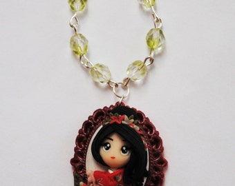 Polymer clay necklace - Sumiko Japanese Girl