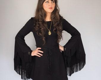 Black Flare Fringe Sleeved Witchy Dress