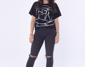 Giant Rose Cropped Boxy Tee