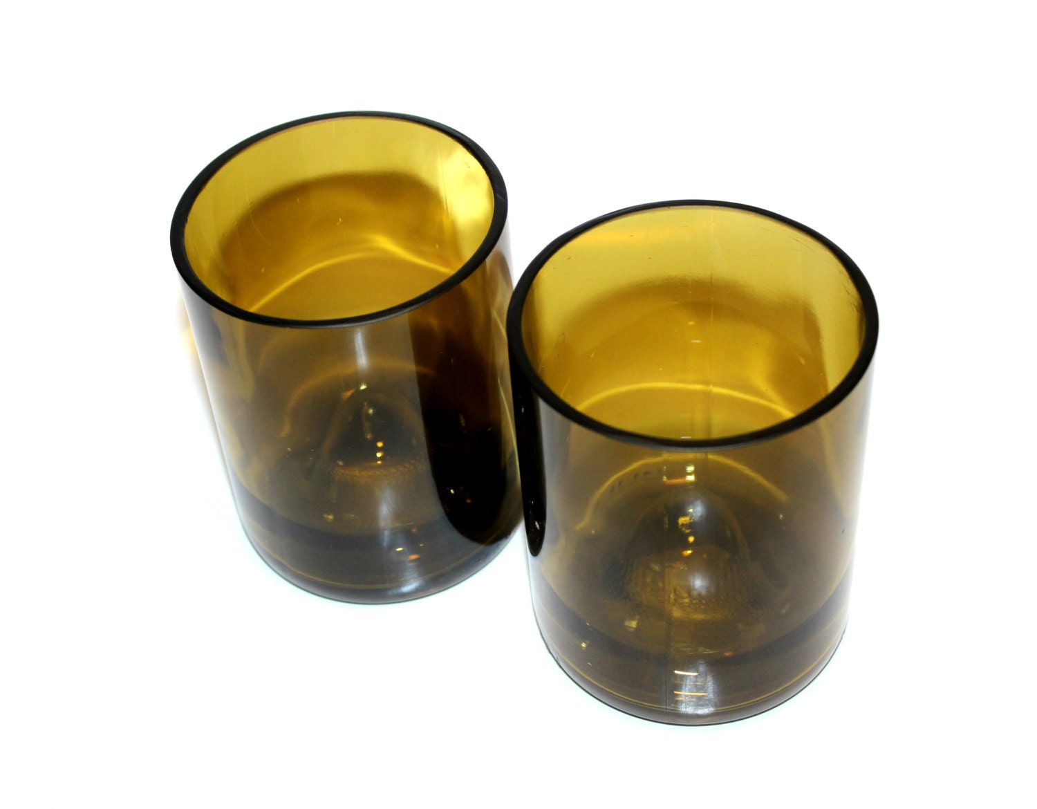 Recycled wine bottle bottom drinking glasses tumblers set of for How to cut the bottom of a glass bottle
