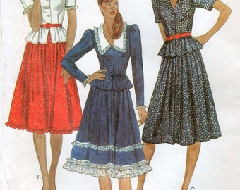 Vintage sewing pattern McCall's 7867 Misses' Top, Skirt, and Tie Belt Bust 36""