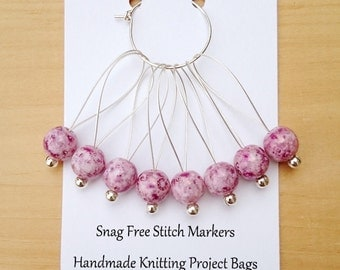 Snag Free Stitch Markers for Knitting, Beaded Stitch Markers, Set of 8 Rose marbled Czech glass Beads.