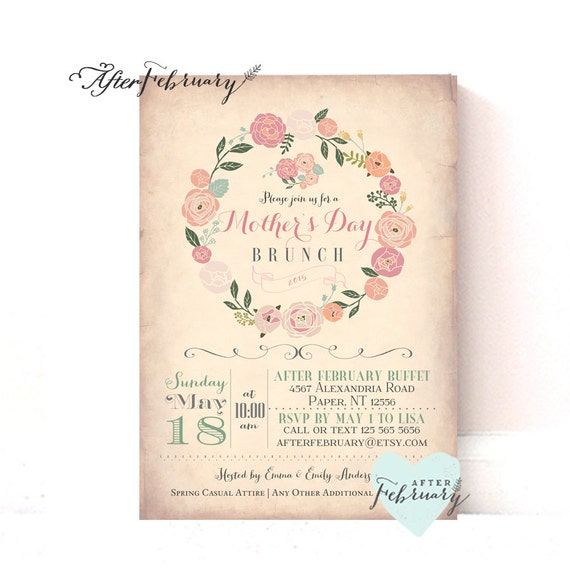 items similar to mother 39 s day invitation mother 39 s day brunch lunchon vintage peach background. Black Bedroom Furniture Sets. Home Design Ideas