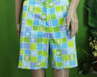 Lily Pulitzer Green And Blue Squares Walking Shorts