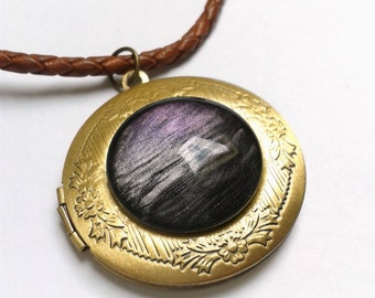 Hand painted Cosmos Necklace Nebula Necklace Leather necklace eekery jewelry Galaxy necklace Galaxy Locket Space Cosmos